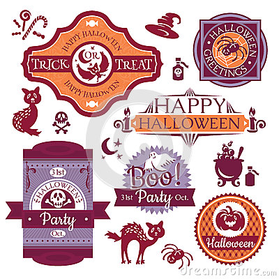 Collection of Halloween labels and signs