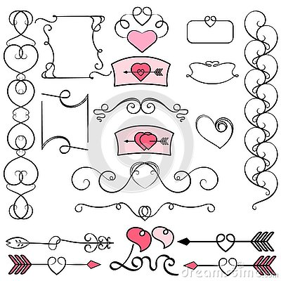 Collection of hand drawn vintage swirl ornaments with hearts. Valentine`s day design elements. Valentine`s day invitation cards an Vector Illustration