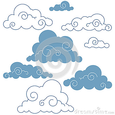 Collection of handdrawn  clouds