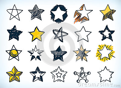 Collection of handdrawn stars