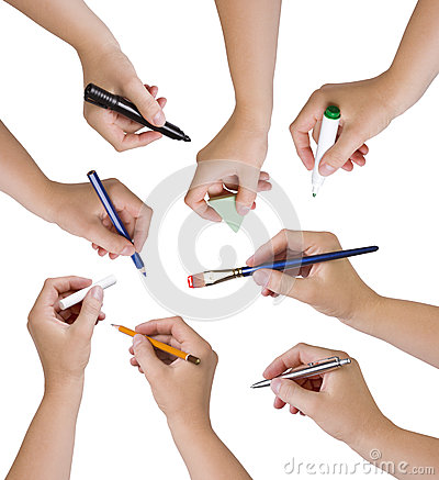 Collection of hands holding different stationary objects
