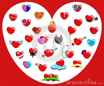 Collection of Hearts with Different Feelings