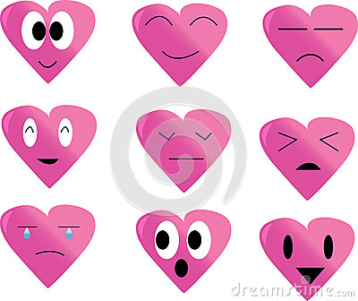 Collection of  hearts(happy, calm, upset, shocked)