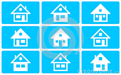 A collection of house icons on a blue background