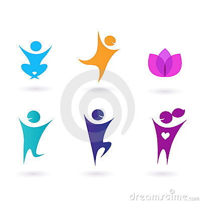 Collection of human icons - yoga and sport