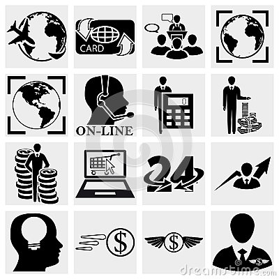 Human resources, Management, Money icons set.