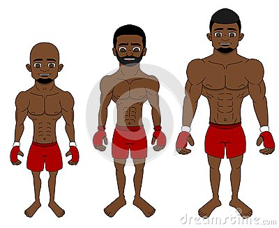 Cartoon MMA fighters in different weight categories