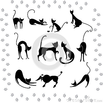 Collection illustrations of black cats