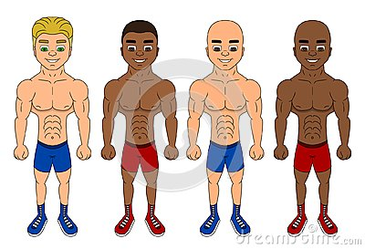 Cartoon of diverse young fighters