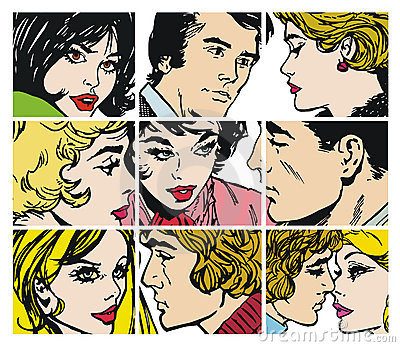 Collection of ilustrations with couples in love
