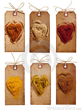 Collection of indian powder spices on vintage tags