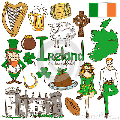Collection Of Irish Icons Stock Vector Image 48125586