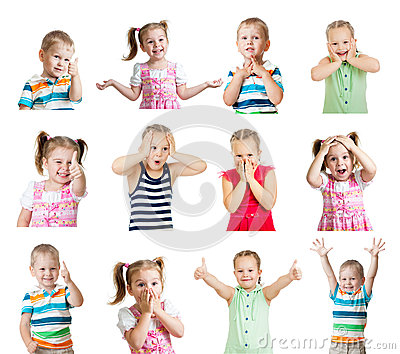 Collection of kids with different emotions isolated on white bac Stock Photo
