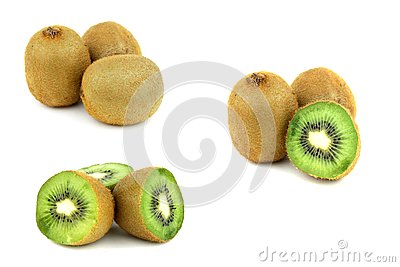 Collection of kiwi fruits isolated on white backgr