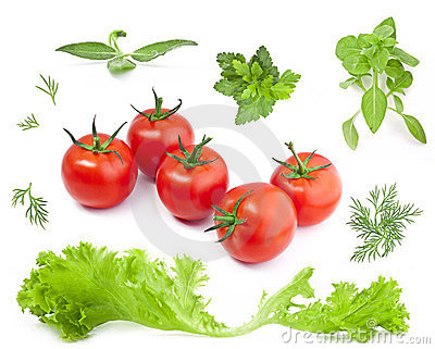 Collection Lettuce, tomatoes and herbs