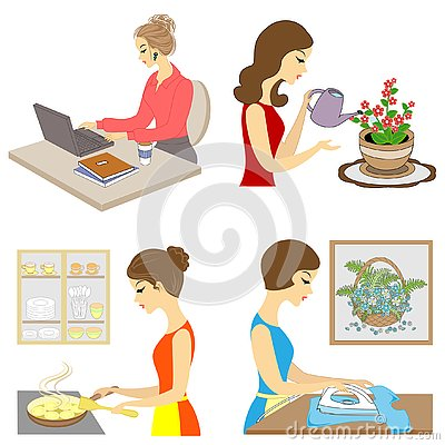 Collection. The life of a lady. The girl prepares to eat, grow flowers, iron clothes, works at the computer. Vector illustration, Cartoon Illustration