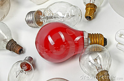 Collection light bulbs Stock Photo