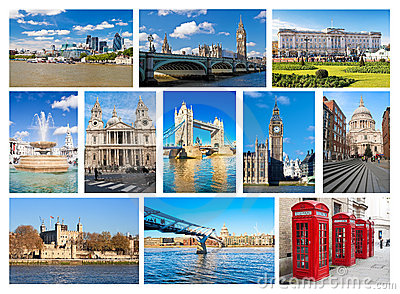 Collection of London landmarks and iconic symbols