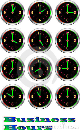 Collection of luminous clocks hour