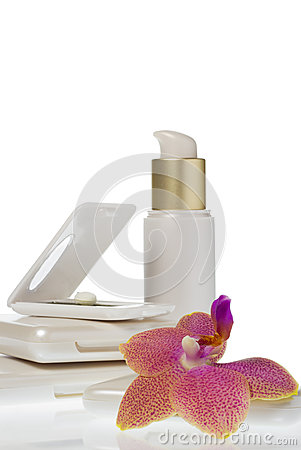 Collection of make up products on white background