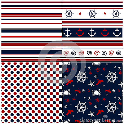 Collection of marine backgrounds in dark blue, red