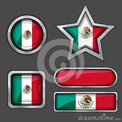 Collection of mexican flag icons