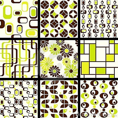 Collection of mod seamless patterns in green