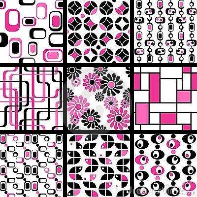 Collection of mod seamless patterns in pink