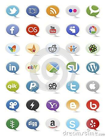 Social Media Buttons Editorial Stock Image
