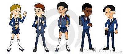 Collection of multiracial school kids