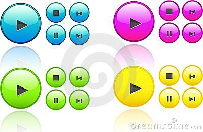 Collection of music  buttons