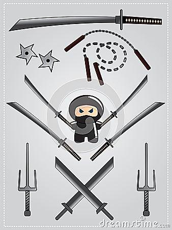 Collection of ninja weapon