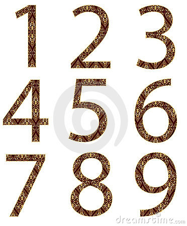 Collection of numbers, made from floral patter