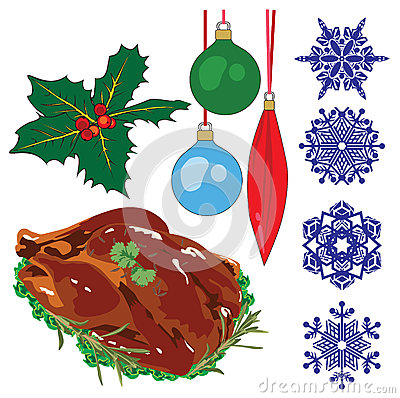 A collection of objects representing Christmas