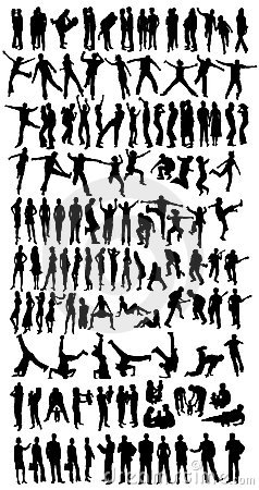 Free Collection Of 118 Silhouettes Royalty Free Stock Photo - 2591465
