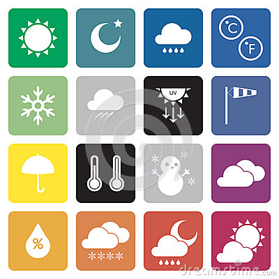 Free Collection Of 16 Weather Sign Icons. Stock Photo - 39745500