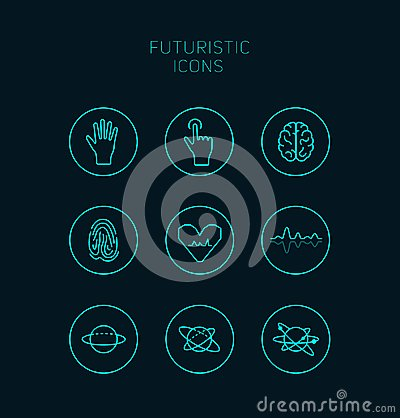 Free Collection Of Abstract Vector Futuristic Icons. Stock Image - 100145361
