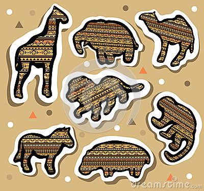 Free Collection Of African Animals Stickers With Seamless Pattern Royalty Free Stock Photography - 39789207