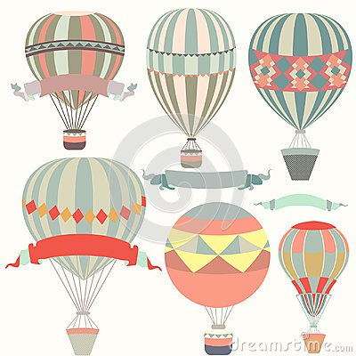 Free Collection Of Air Balloons Vintage Style Royalty Free Stock Image - 115911836