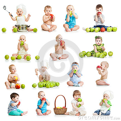 Free Collection Of Babies And Kids Eating Apples Royalty Free Stock Photography - 38545817