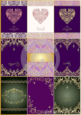 Free Collection Of Beautiful Wedding Vintage Invitations With Floral Pattern Royalty Free Stock Photography - 65917787