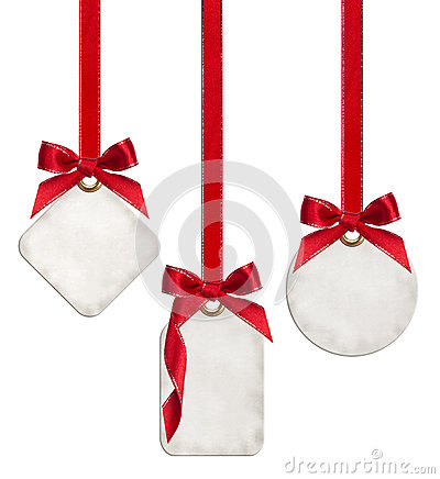 Free Collection Of Blank Gift Tags Tied With Red Satin Ribbon Bows Royalty Free Stock Photo - 47276295