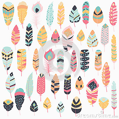 Free Collection Of Boho Vintage Tribal Ethnic Hand Drawn Colorful Feathers Stock Photography - 77507762