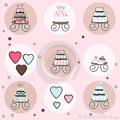 Free Collection Of Cakes, Cupcakes And Candy Hearts Royalty Free Stock Image - 9826906