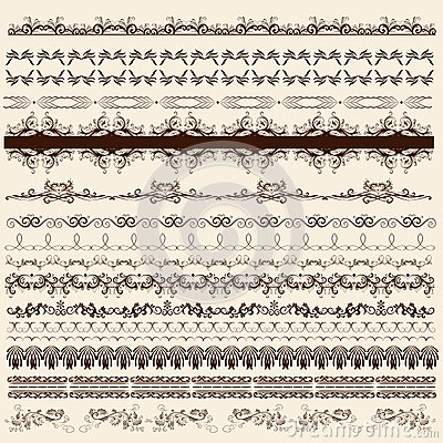 Free Collection Of Calligraphic Borders For Design Royalty Free Stock Image - 30241426