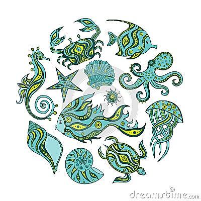 Free Collection Of Cartoon Marine Life. Royalty Free Stock Photos - 74675468