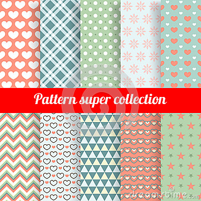 Free Collection Of Chic Vector Seamless Patterns Stock Photography - 37717242