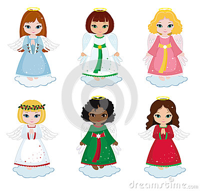Free Collection Of Christmas Angels On White Background Stock Image - 63642181