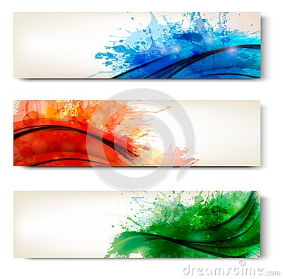 Free Collection Of Colorful Abstract Watercolor Banners Royalty Free Stock Images - 28670359
