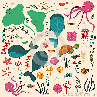 Free Collection Of Colorful Sea And Ocean Animals, Whale, Octopus, Stingray, Jellyfish, Turtle, Coral Royalty Free Stock Images - 87111939